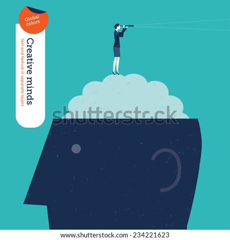 Businesswoman on brain with spyglass. Vector illustration Eps10 file. Global colors. Text and Texture in separate layer - stock vector
