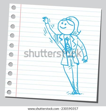 Businesswoman reaching something - stock vector