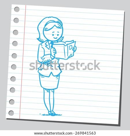 Businesswoman reading book - stock vector