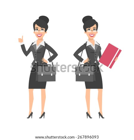 Businesswoman showing thumbs up holding briefcase folder - stock vector