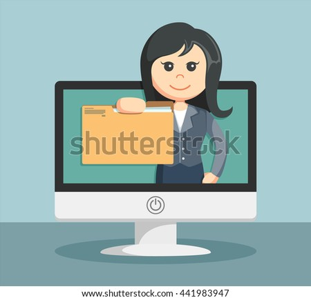 businesswoman shows on the monitor file folder to its customers - stock vector