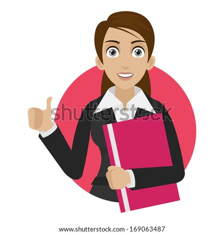 Businesswoman shows thumb up in circle - stock vector