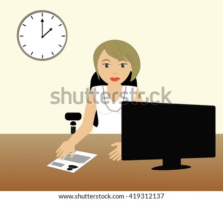 Businesswoman sitting at desk on computer. - stock vector