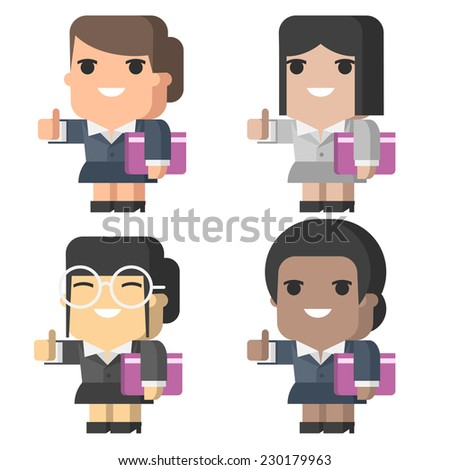 Businesswoman smiling and showing thumbs up - stock vector