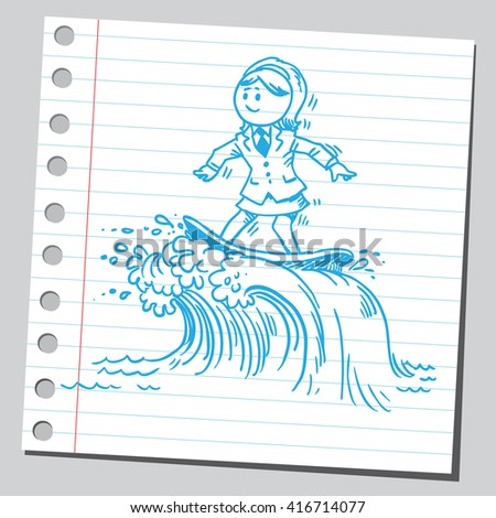 Businesswoman surfing on waves - stock vector