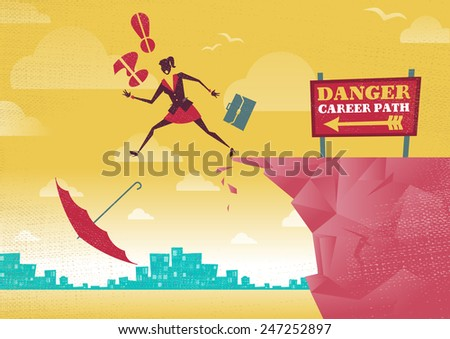 Businesswoman takes a dangerous Career Path Choice. Great illustration of Retro styled Businesswoman plummets off a cliff as her career takes a fall. - stock vector