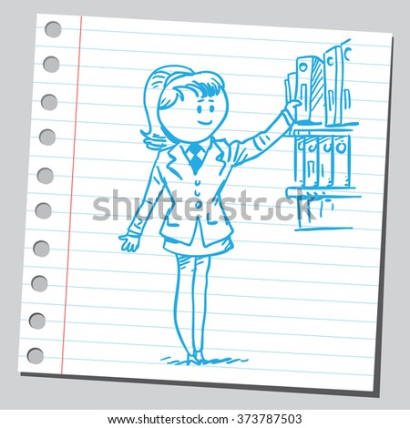 Businesswoman taking binder from shelf - stock vector