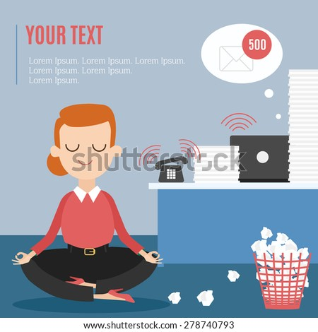 meditation businessman office. businesswoman thinking during meditation at office cartoon flat vector background stock businessman