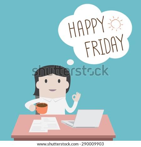 Businesswoman thinking happy Friday - Vector  - stock vector