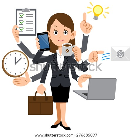 Businesswoman to do a multi-tasking - stock vector