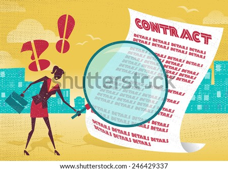 Businesswoman uses magnifying glass to check contract. Businesswoman is very careful to check the fine print of a business contract with her huge magnifying glass. - stock vector