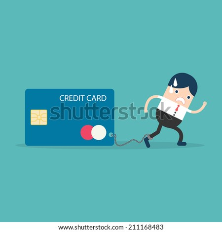 Businesswoman with Credit Card slave - stock vector