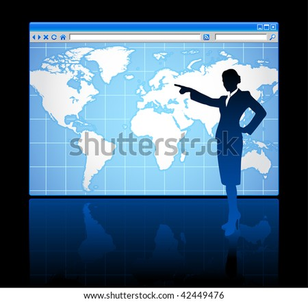 businesswoman with world map background - stock vector