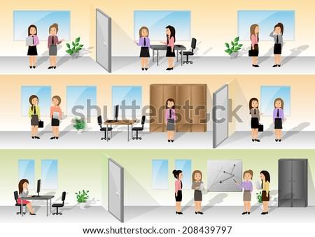 Businesswomen In Office Set - Vector Illustration, Graphic Design Editable For Your Design - stock vector