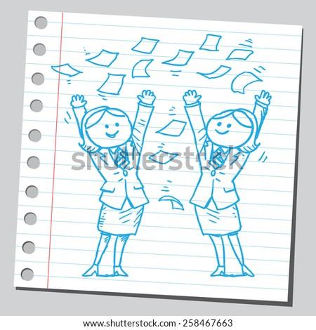 Businesswomen throwing papers - stock vector
