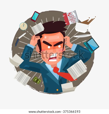 busy businessman with a lot of works to do. character design -  vector illustration - stock vector