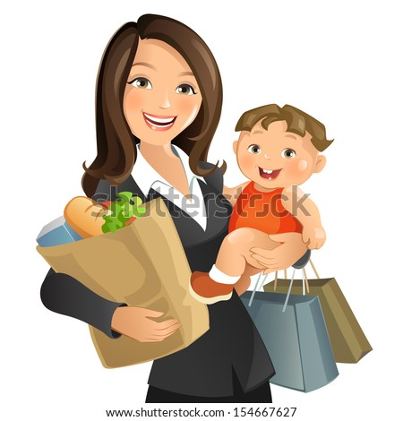 Busy Mom - stock vector