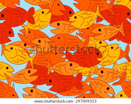 Busy seamless pattern of fun yellow, orange and red colorful cartoon fish - stock vector