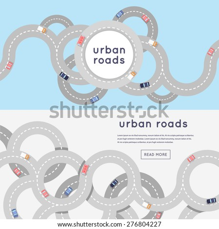 Busy urban asphalt roads and transport. 2 banners with place for text. Top view. Flat style vector illustration. - stock vector