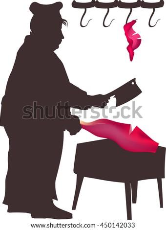 Butcher at work - stock vector