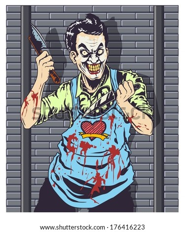 Butcher Clown Vector - stock vector