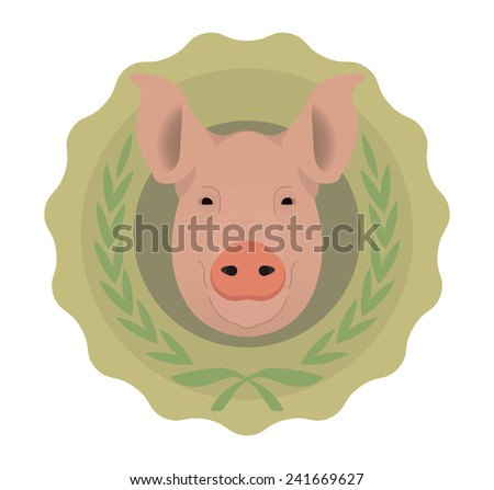 Butchery organic food vector eco logo. Big pink pig head in green stamp with laurel wreath. Color no outline vector illustration isolated on  white - stock vector