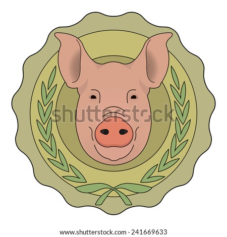 Butchery organic food vector eco logo. Big pink pig head in green stamp with laurel wreath. Color vector illustration isolated on  white - stock vector