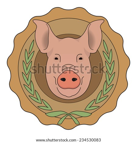 Butchery organic food vector eco logo. Big pink pig head in orange stamp with laurel wreath. Color vector illustration isolated on  white - stock vector