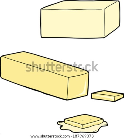 Butter as a stick, cut and melted on white background - stock vector