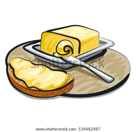 butter with sandwich - stock vector