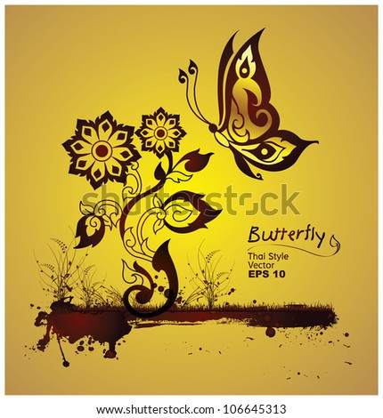 butterflies and flowers style line thai. Vector - stock vector