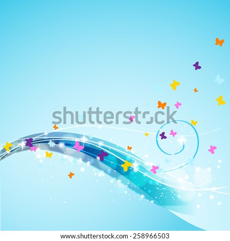 butterflies flying on abstract flowing background - stock vector