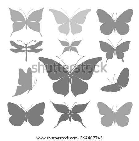Butterflies graphic silhouettes - stock vector