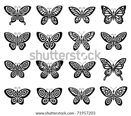 Butterflies icon set - stock vector