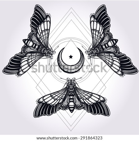 Butterflies moth with moons, sacred geometry circle. Elegant design tattoo art. Isolated vector illustration. Trendy Vintage style element. Dark romance, love, occultism, alchemy, magic, mysticism.  - stock vector