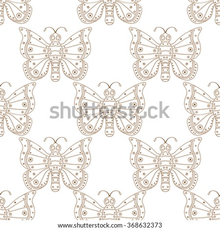 Butterflies seamless pattern in doodle style. Hand drawn butterfly vector illustration for fabric. textile, wrapping, wallpaper, packaging and other beauty design. - stock vector