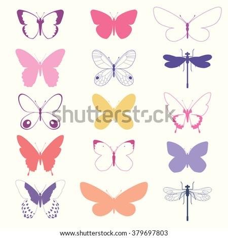 Butterflies Set - vector illustration eps10 - stock vector