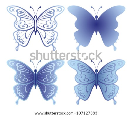 Butterflies with open wings, set, blue monochrome and silhouette, isolated on white background. Vector - stock vector