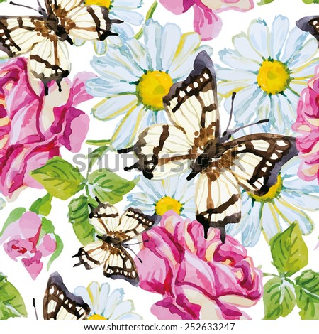 Butterflies with roses and daisies on the white background. Watercolor seamless pattern. - stock vector