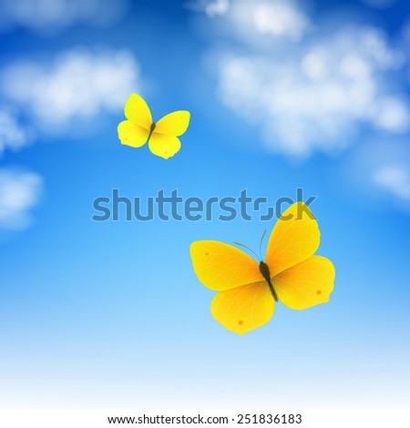 Butterfly And Sky With Gradient Mesh, Vector Illustration - stock vector
