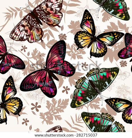 Butterfly beautiful seamless pattern - stock vector