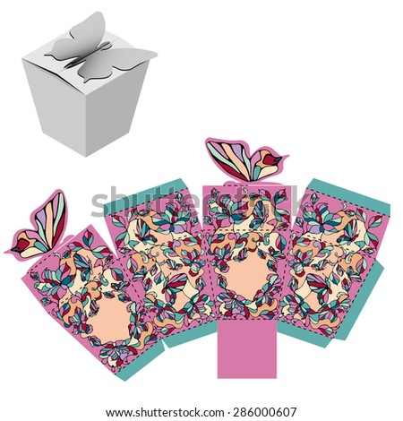 Butterfly Box Design, die-stamping, folding Template - stock vector