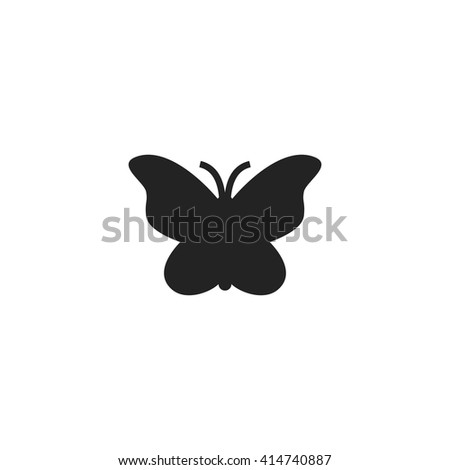 Butterfly Icon Fill Black - stock vector