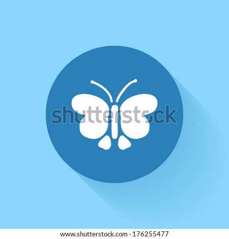 Butterfly icon, vector illustration. Flat design style - stock vector