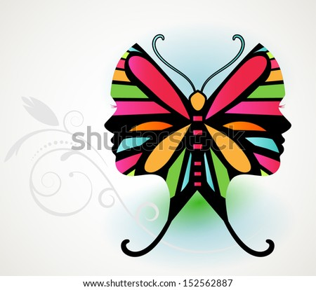 Butterfly illusion  - woman's face in butterfly wing  - stock vector