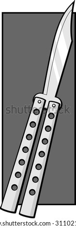 butterfly knife - stock vector