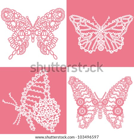 butterfly lace set - stock vector