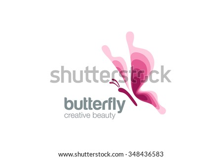 Butterfly Logo Fashion Beauty Salon design vector template. Creative symbol Logo Flying Butterfly elegant Logotype concept beautiful icon. - stock vector