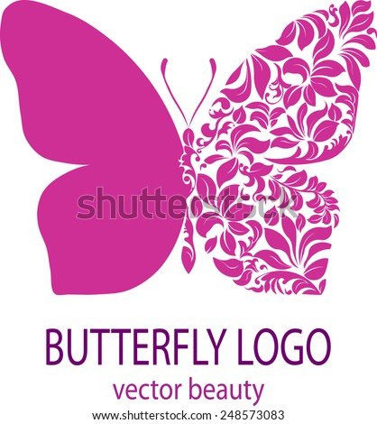 Butterfly logo. Purple butterfly with patterned wing. Business sign template for beauty industry, icon, avatar, flower style, spa beauty salon, insignia, label, badge, vector element, floral design. - stock vector