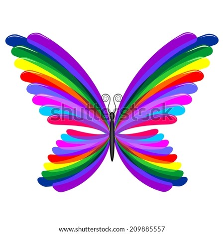 Butterfly Psychedelic Rainbow Colors - stock vector